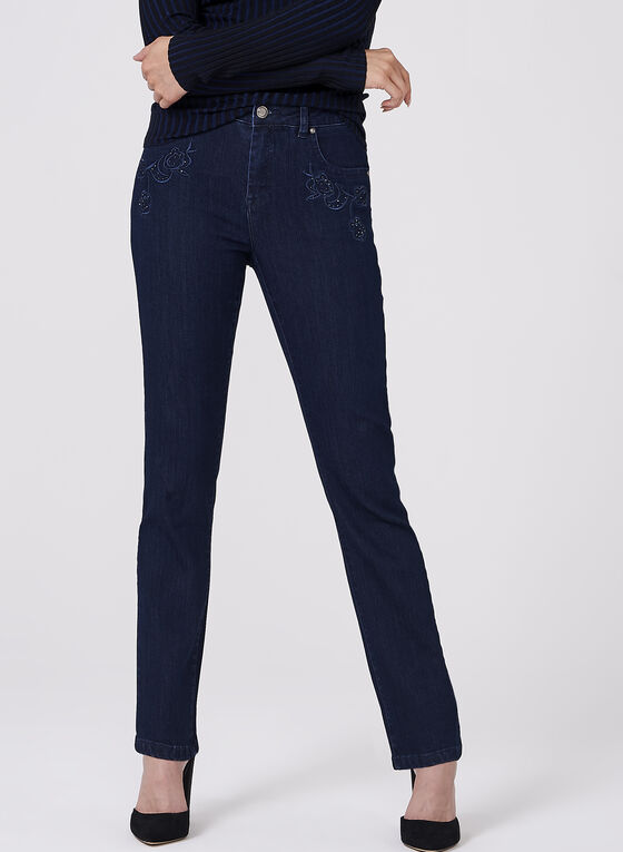 Simon Chang - Floral Embroidered Straight Leg Jeans, Blue, hi-res