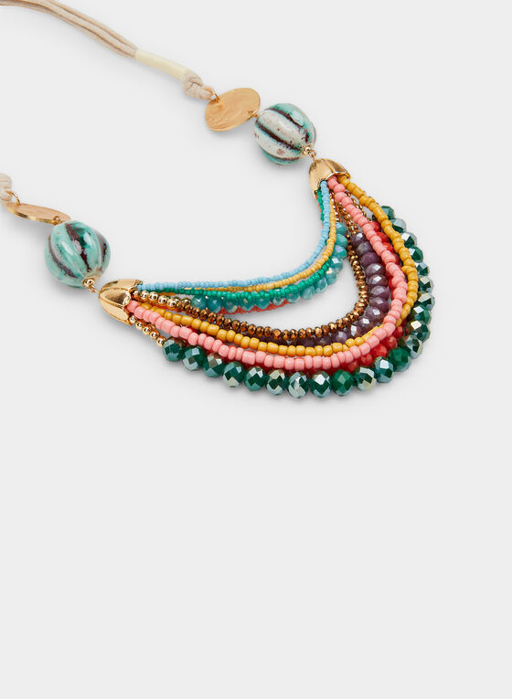 Layered Bead Necklace, Gold, hi-res