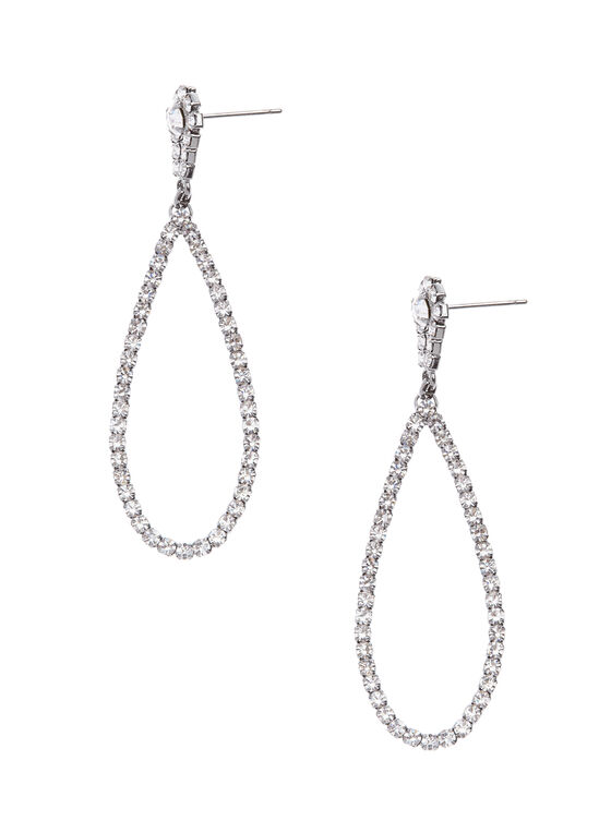Crystal Teardrop Earrings, Grey, hi-res