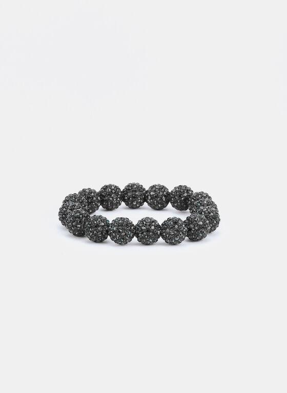 Bracelet élastique à billes de strass, Gris