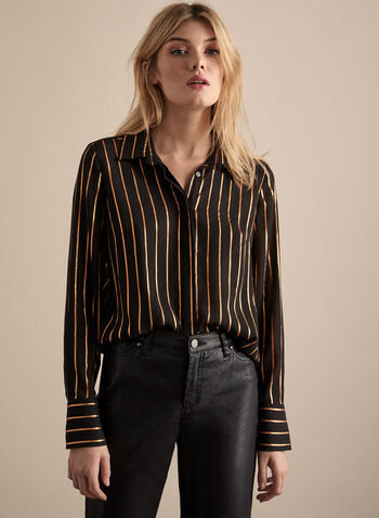 Metallic Stripe Print Blouse , Black,  stripe print, long sleeves, chiffon, blouse, asymmetric hem, fall 2019, winter 2019