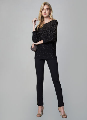Dolman Sleeve Sweater, Black, hi-res,  sweater, knit, dolman sleeves, 3/4 sleeves, studs, fall 2019, winter 2019