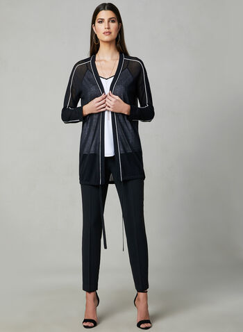 Contrast Trim Cardigan, Black, hi-res