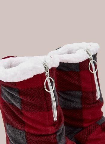 Tartan Print Boot Slippers, Red,  fall winter 2020, plush, slippers, pyjama