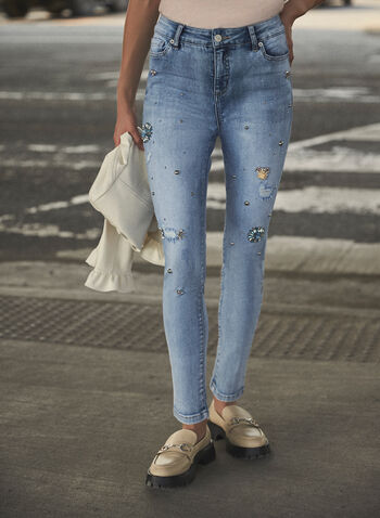 Floral Detail Slim Leg Jeans, Blue,  fall winter 2021, pants, denim, jeans, ripped jeans, distressed jeans, distressed denim, slim leg, stretch denim, 5 pockets, floral, embellished, stones, detail