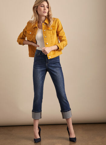 Stretchy Denim Jacket, Yellow,  spring summer 2020, jacket, long sleeves, buttons, stretchy denim, coloured,