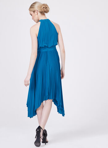 Aidan Mattox - Pleated Halter Dress, Blue, hi-res