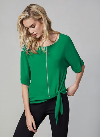 Rhinestone Detail Blouse, Green, hi-res,  blouse, top, rhinestone, details, tie, chiffon, boat neck, fall 2019, winter 2019