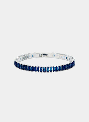 Baguette Tennis Bracelet, Blue, hi-res