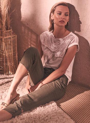 Linen Pull-On Pants, Green,  chapter one, spring summer 2021, linen, linen blend, capris, pants,
