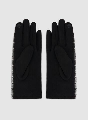 Plaid Print Gloves, Black,  fall winter 2019, plaid print, gloves