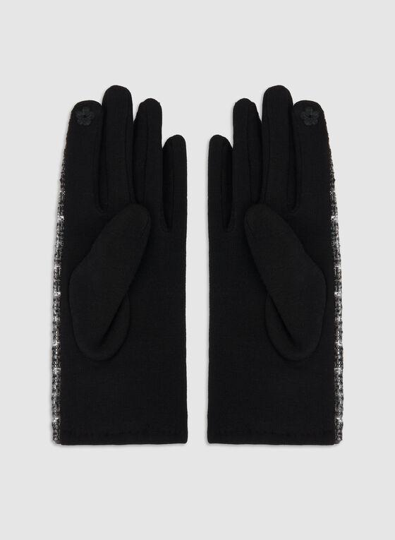Gants motif tartan, Noir