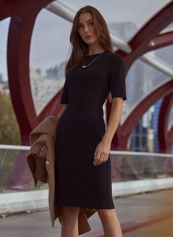 Elbow Sleeve Sheath Dress, Black,  fall winter 2021, dress, day dress, corporate, work, crew neck, elbow sleeve, sheath, belt, golden, hammered metal, buckle, back zipper, exposed zipper, crepe, fitted