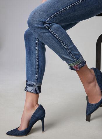 Frank Lyman - Reversible Slim Leg Jeans, Blue, hi-res,  camouflage, floral, spring 2019