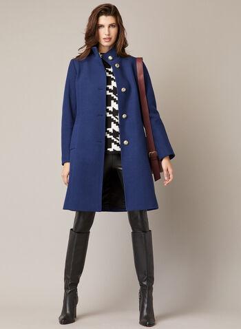 Manteau à col montant en laine mélangée, Bleu,  automne hiver 2020, manteau, laine, col montant, boutons, poches, martingale, laine