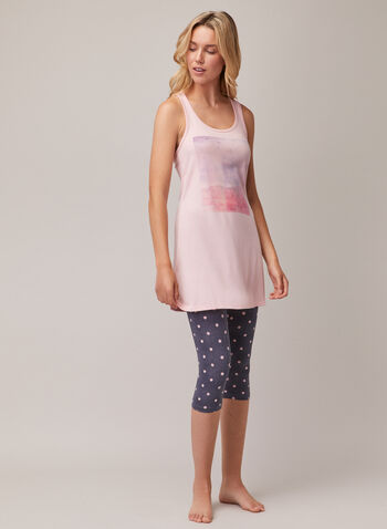 Pyjama 2 pièces avec dos nageur et capri à pois, Rose,  pyjama, débardeur, dos nageur, paysage, capri, pois, printemps été 2020