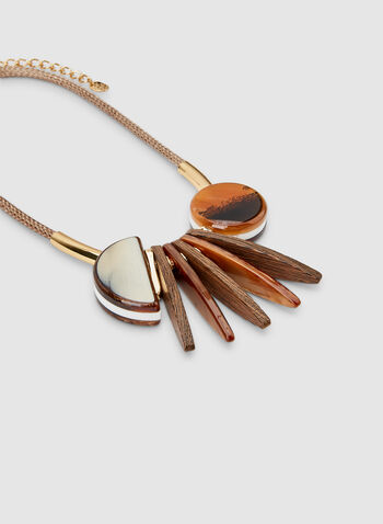 Short Geometric Necklace, Brown, hi-res,  cord necklace