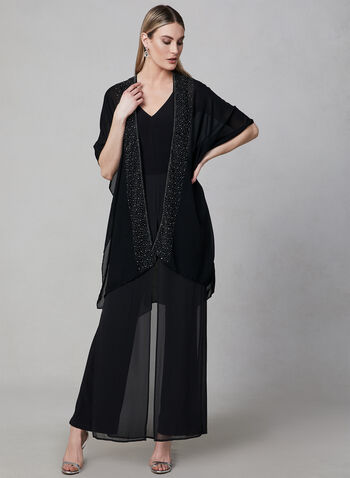 Beaded Shawl, Black, hi-res