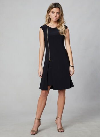 Frank Lyman - Zipper Detail Shift Dress, Black,  day dress, jersey, short sleeve, loose collar, zipper detail, lined, frank lyman, fall 2019, winter 2019