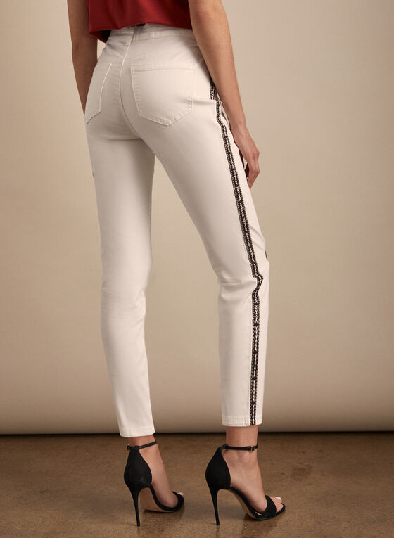 Aztec Print Side Slim Leg Jeans, White