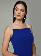 Karl Lagerfeld Paris - Robe droite à bretelles en perles, Bleu, hi-res