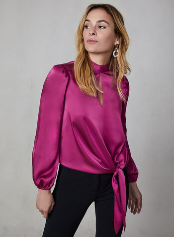 Side Tie Satin Blouse, Purple,  blouse, long sleeves, elastic cuffs, high neckline, side tie, fall 2019, winter 2019