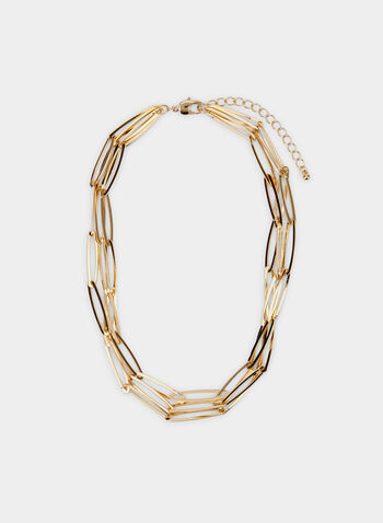 Oval Link Necklace, Gold,  necklace, oval, link metallic, spring summer 2020