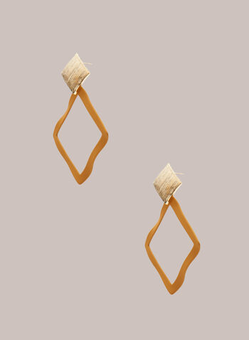 Open Lozenge Earrings, Yellow,  jewellery, accessories, earrings, lozenge, open, wavy, resin, metallic, spring summer 2021