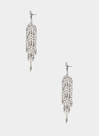 Crystal Dangle Earrings, Silver, hi-res,  dangle earrings, crystal cascades, fall 2019
