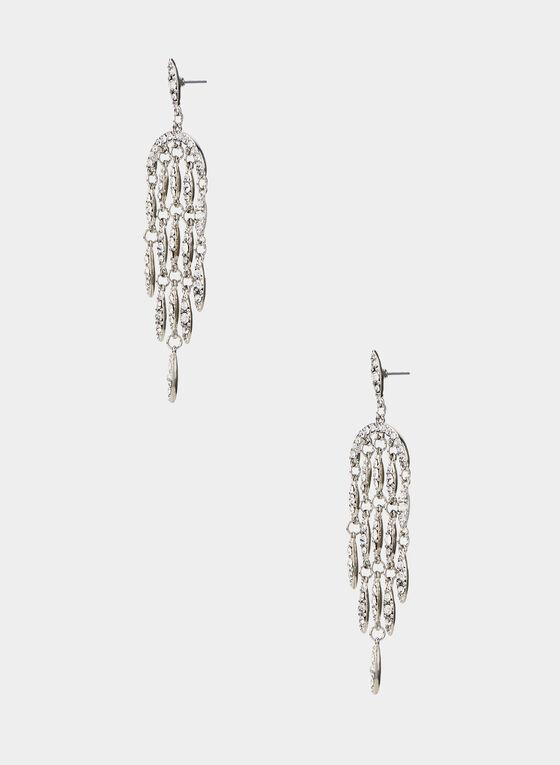 Crystal Dangle Earrings, Silver