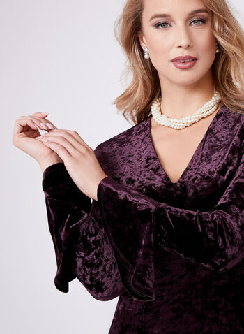 Maggy London - Velvet Ruffle Sleeve Dress, Purple, hi-res