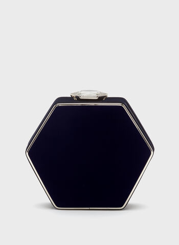 Pochette hexagonale en velours, Bleu, hi-res