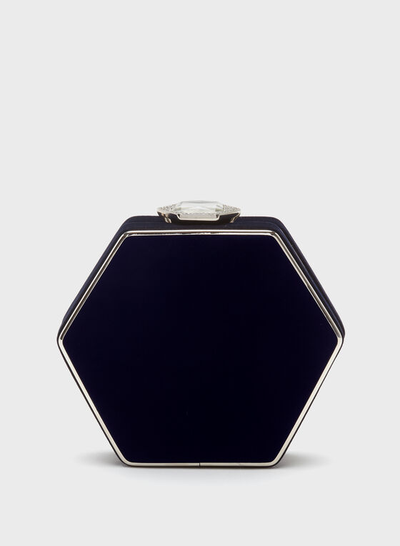 Hexagon Velvet Clutch , Blue, hi-res