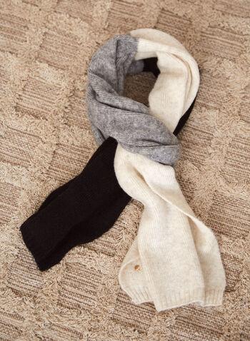 Foulard dégradé en laine mélangée, Brun,  accessoires, foulard, oblong, rectangulaire, dégradé de couleurs, mélange de laine, automne hiver 2021