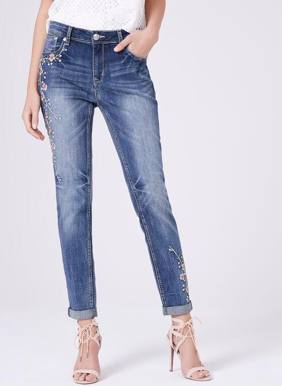 Grace in LA - Jean à jambe droite avec broderies florales , Bleu, hi-res