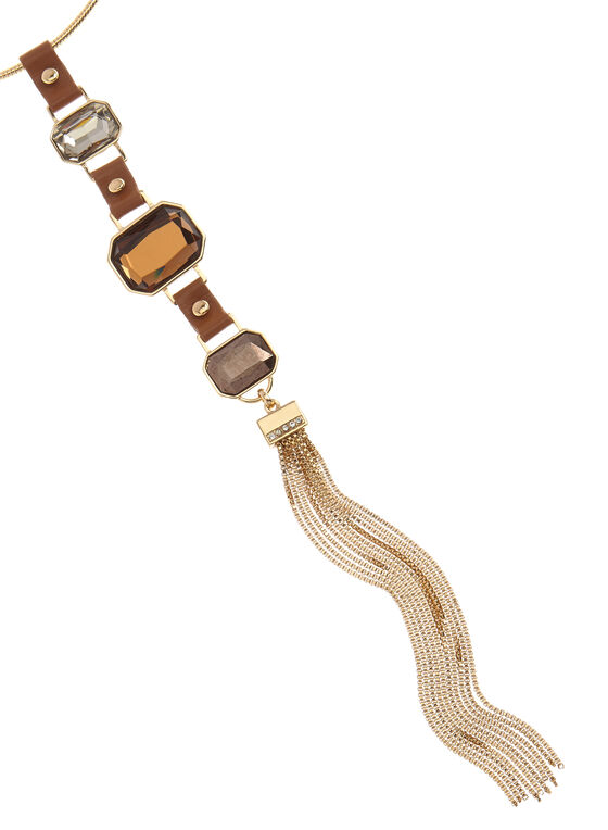 Faux Leather Pendant Tassel Necklace, Brown, hi-res