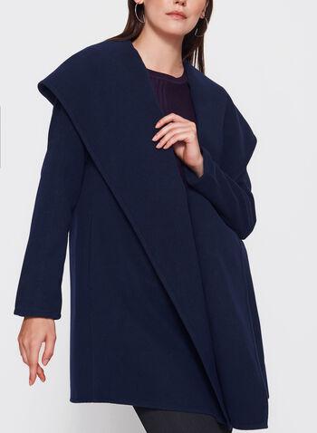 Manteau ouvert aspect laine surdimensionné, Bleu, hi-res