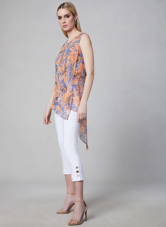 Blouse asymétrique motif cachemire, Orange, hi-res