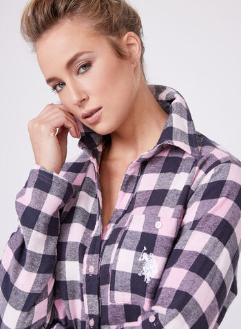 U.S. Polo Assn. - Check Flannel Nightgown, Pink, hi-res