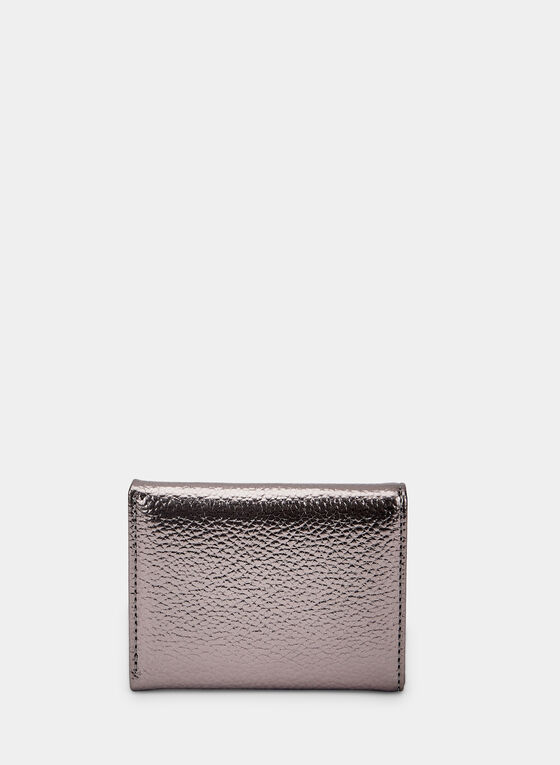 Small Metallic Wallet, Grey