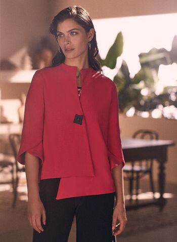 Joseph Ribkoff - Asymmetric Flutter Sleeve Blazer, Pink,  Spring Summer 2021, jacket, blazer, flutter sleeves, tulip sleeves, one button, square button, asymmetrical, 3/4 sleeves, high collar