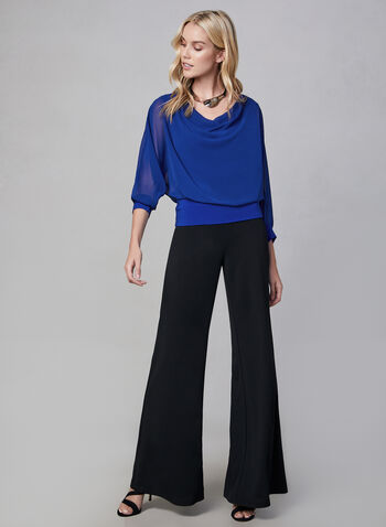 Joseph Ribkoff - Wide Leg Pants, Black,  wide leg, fall winter 2019, crepe, pull-on