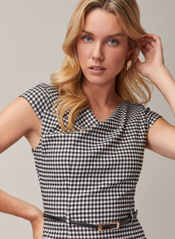 Joseph Ribkoff - Tartan Print Dress, Black,  day dress, midi, sheath, tartan, belt, spring summer 2020