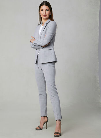 Pantalon Amber à motif Prince-de-Galles, Argent, hi-res