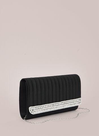 Pearl & Crystal Evening Bag, Black,  bag, evening, clutch, pearl, crystal, flap, fall winter 2020