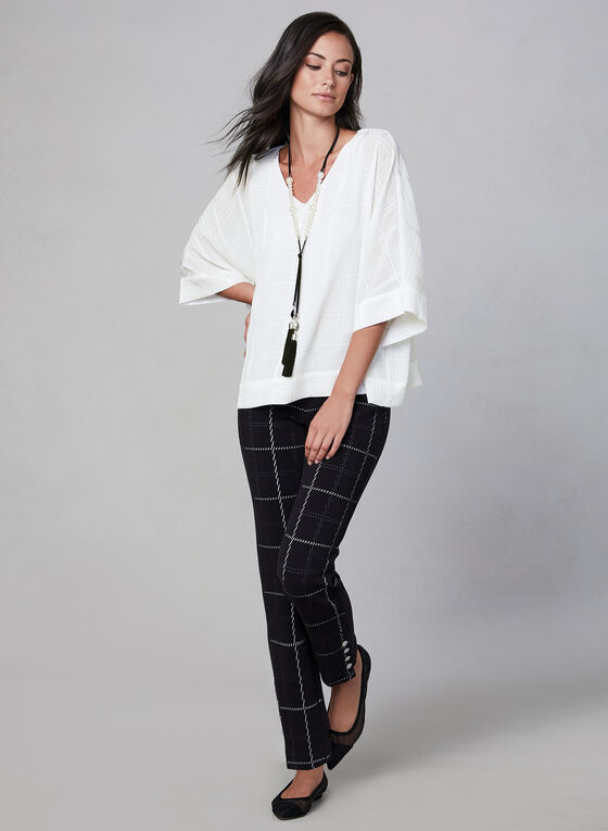 Plaid Print Kimono Sleeve Top, Off White