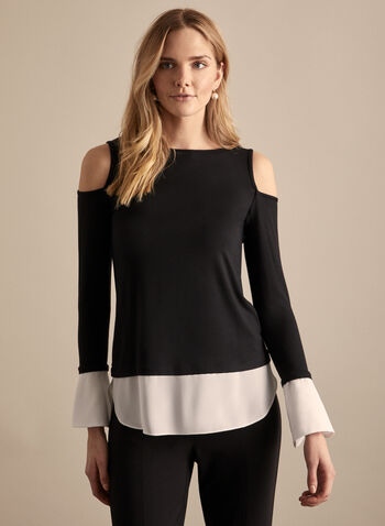 Boat Neck Fooler Top, Black,  spring summer 2020, long sleeves, jersey fabric