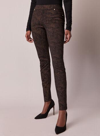 Pantalon Kayla à motif cachemire, Noir,  automne hiver 2020, pantalon, pull-on, taille élastique, à enfiler, jambe étroite, motif cachemire, point de Rome, poches