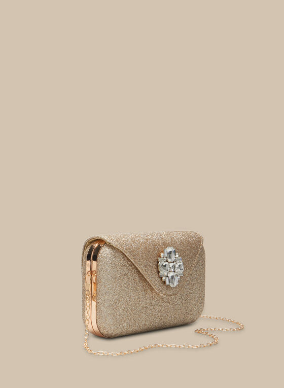 Glitter Box Clutch, Gold