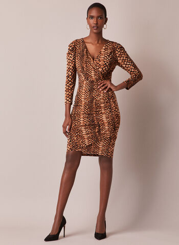 Snake Print V-Neck Dress, Brown,  dress, snake print, v-neck, sheath, cocktail, wrap, crossover, fall winter 2020